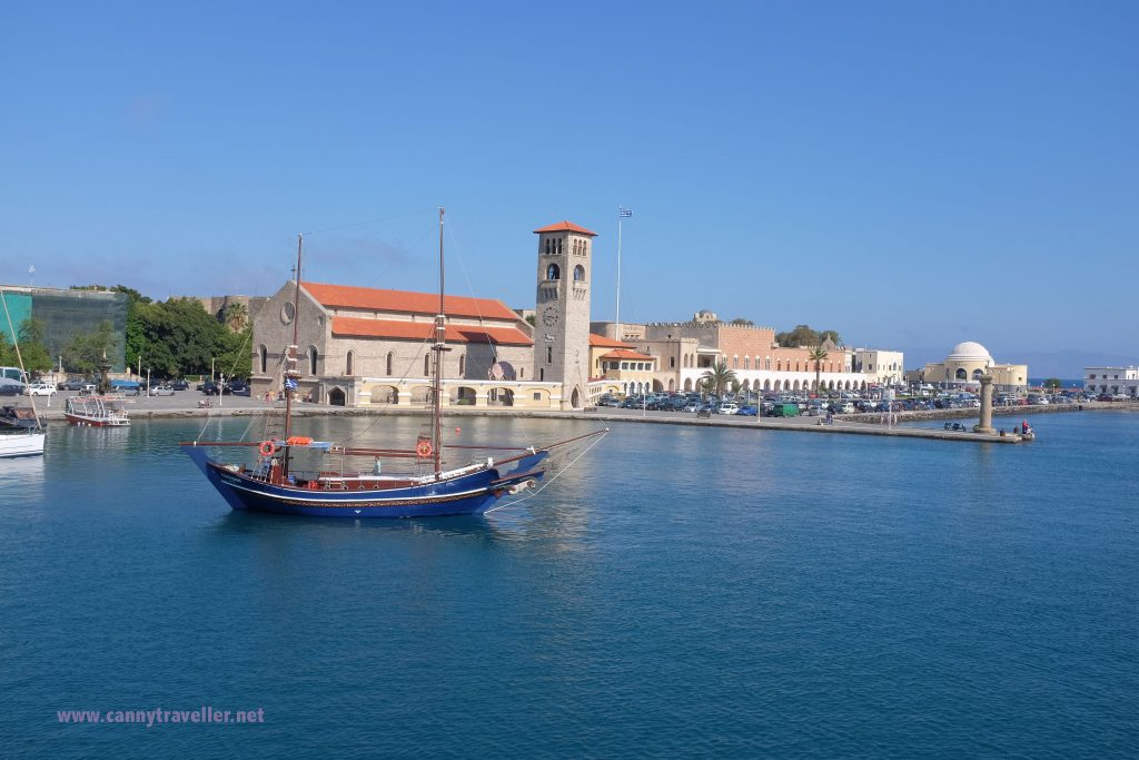 Sailing out of Rhodes town harbour
