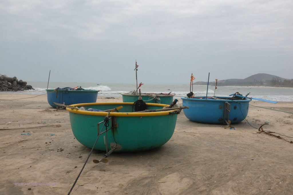 Fishing coracles on the beach at Phan Thiet, Vietnam
